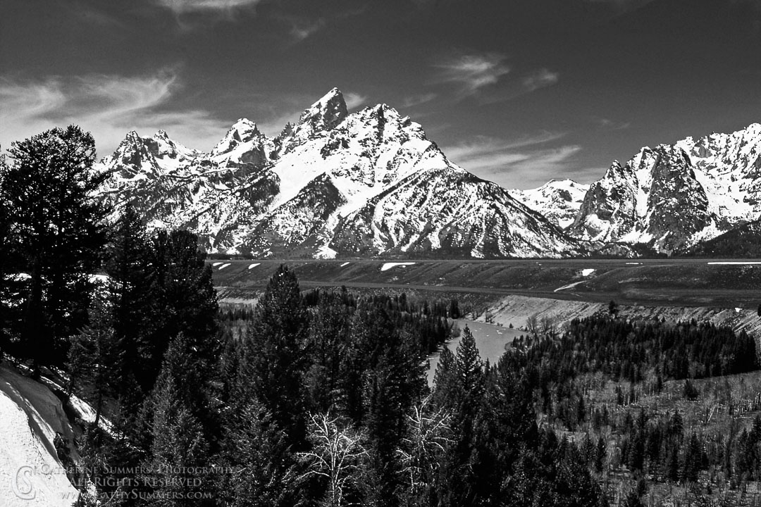 1979_05_002_BW: horizontal, snow, Grand Teton, Snake River, landscape