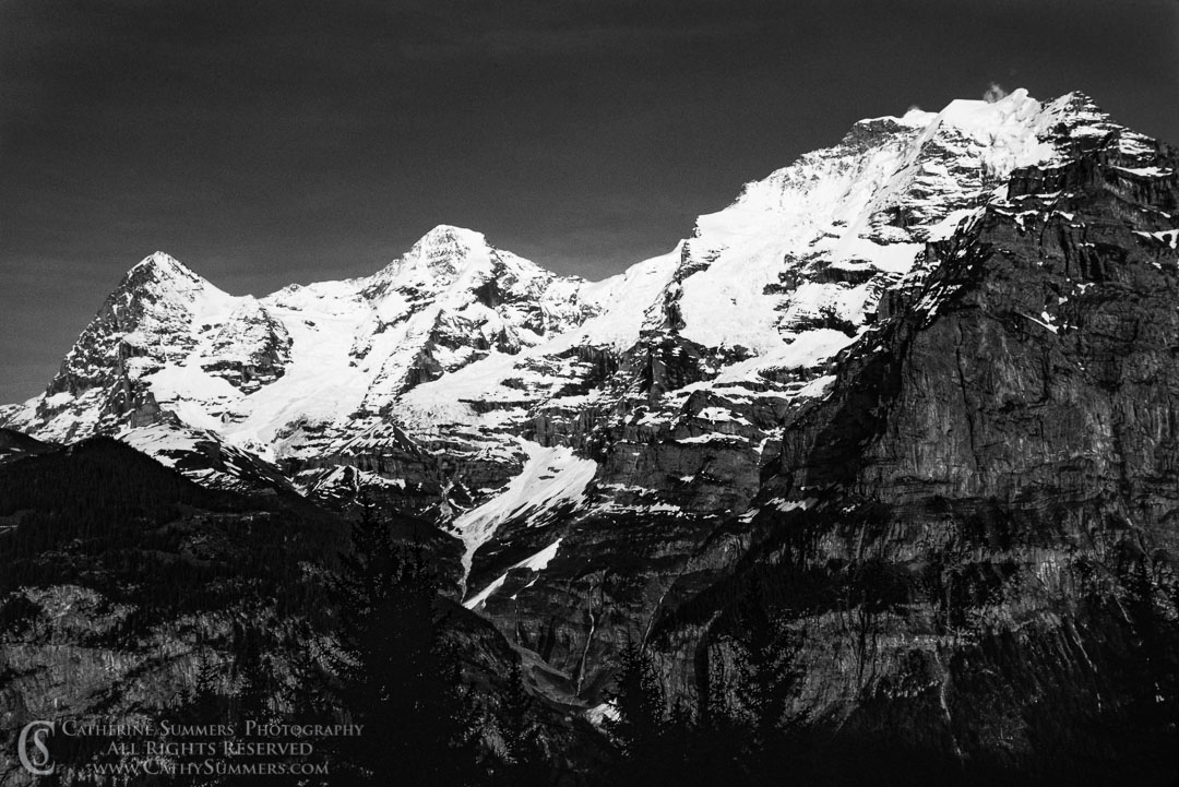 1983_Swiss_Alps_001: horizontal, grayscale, alps, Bernesse Oberland, Eiger, Jungfrau, Monch, switzerland, Balack & White