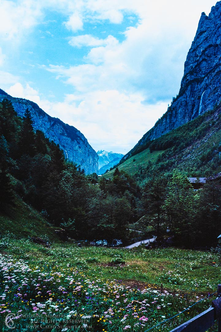 1983_Swiss_Alps_006: waterfall, morning, alps, glacial valley, Lauterbrunnen