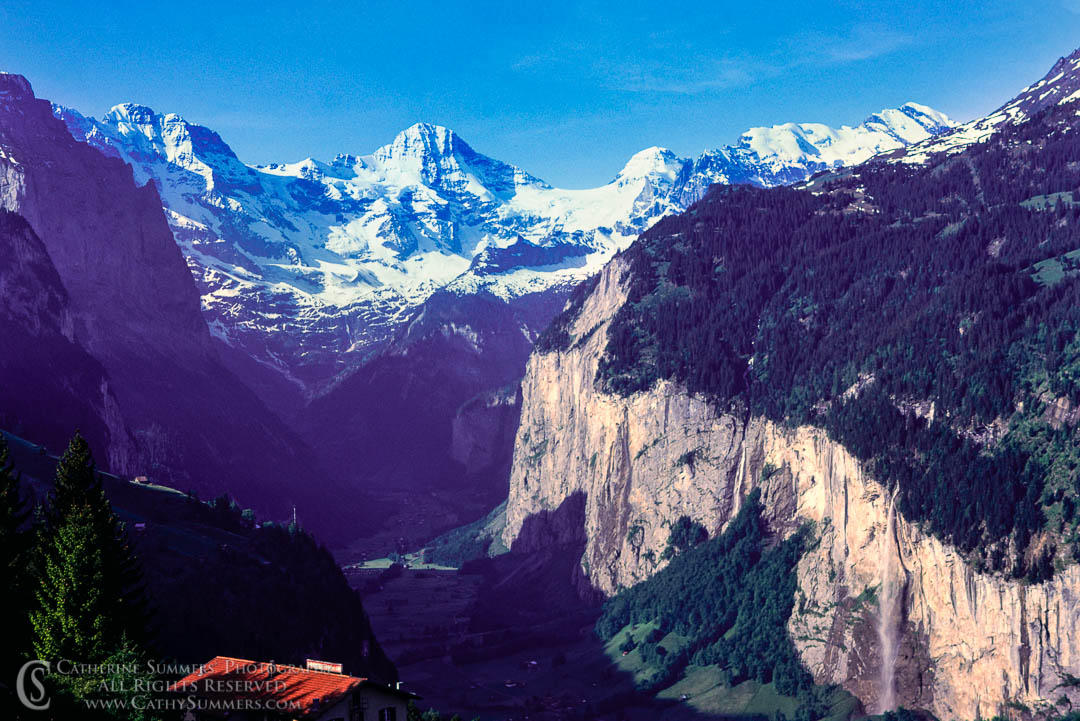 1983_Swiss_Alps_008: horizontal, waterfall, morning, alps, Bernesse Oberland, Jungfrau, Monch, glacial valley, Lauterbrunnen