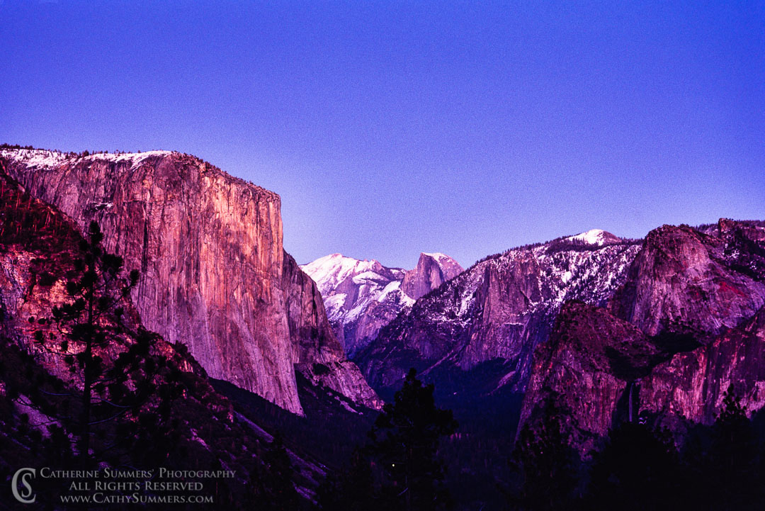 sunset colors lighting Yosemite Valley