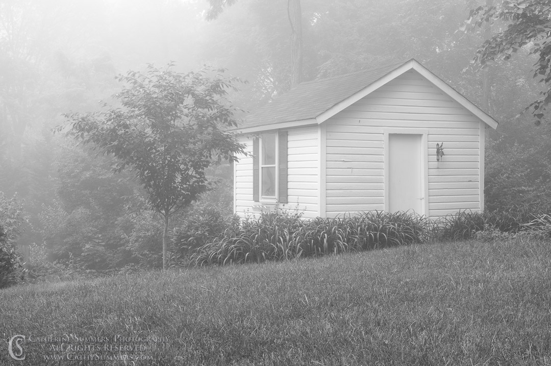 20080607_002_BW: horizontal, morning, fog, summer, spring house, black and white