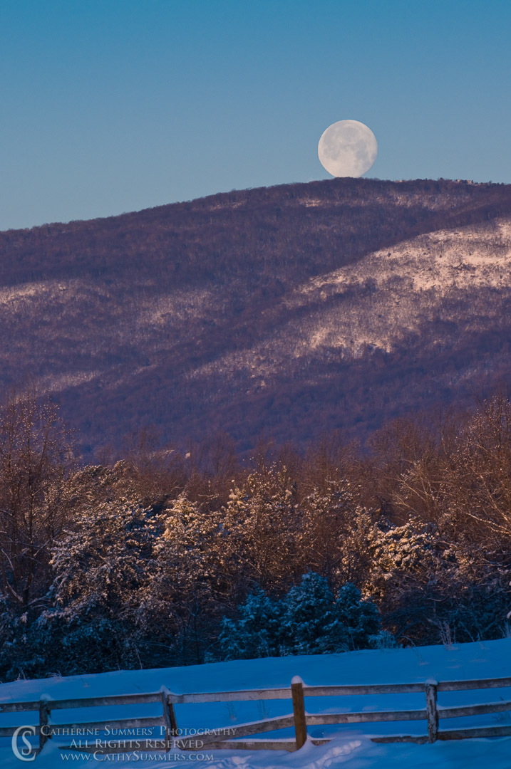 Full Moon and Blue Ridge Mountains on a Snowy Dawn: Albemarle County, Virginia