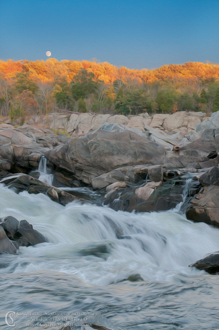 Autumn Moonrise at Great Falls #1 - Oil Paint Effect: Great Falls National Park, Virginia