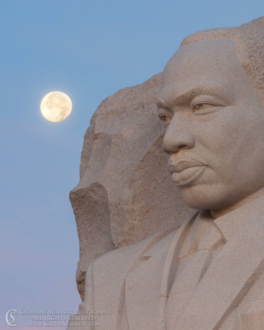 Martin Luther King Memorial and Full Moon at Dawn #2: Washington, DC
