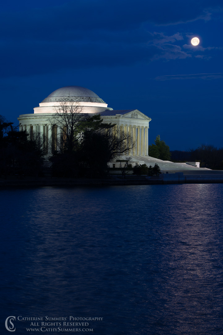 20130328_008: Full Moon setting over the Jefferson Memorial.  No cherry blossoms, and a bank of clouds obscured the moon before the sun rose.
