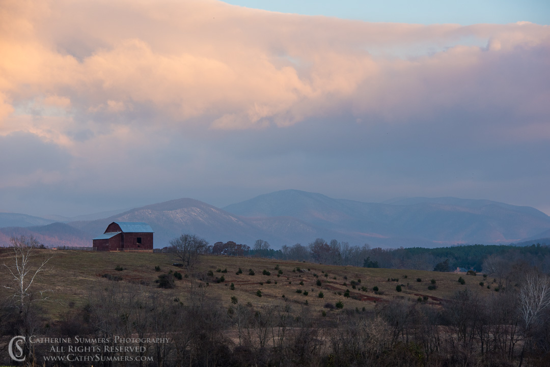 Snowy Blue Ridge Mountains and Barn at Dawn: Greene County, Virginia
