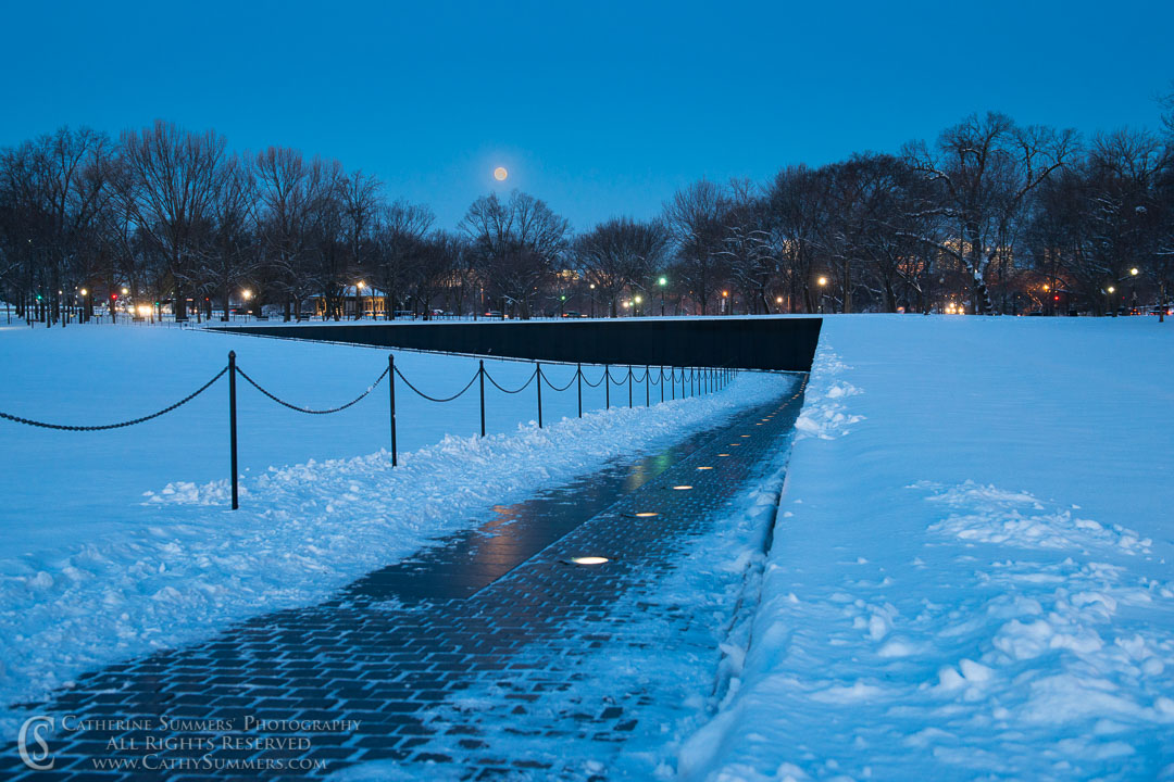 Moon Setting Over the Vietnam Memorial (The Wall) at Dawn on a Snowy Morning: Washington, DC