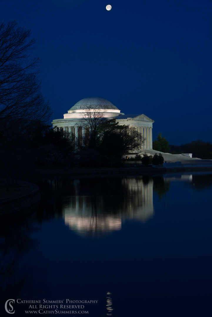 Full Moon and Jefferson Memorial Before Dawn with Reflection in Tidal Basin: Washington, DC