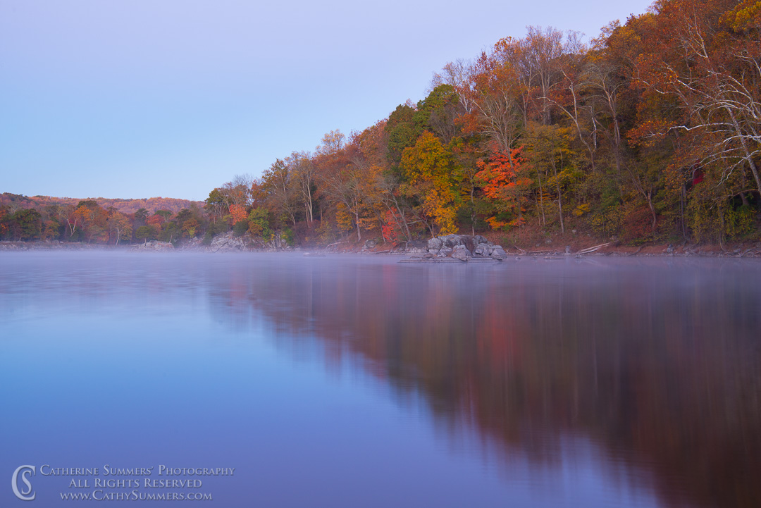 Autumn Colors and Reflections in the Mist before Dawn at Widewater: C&O Canal National Historic Park, Maryland