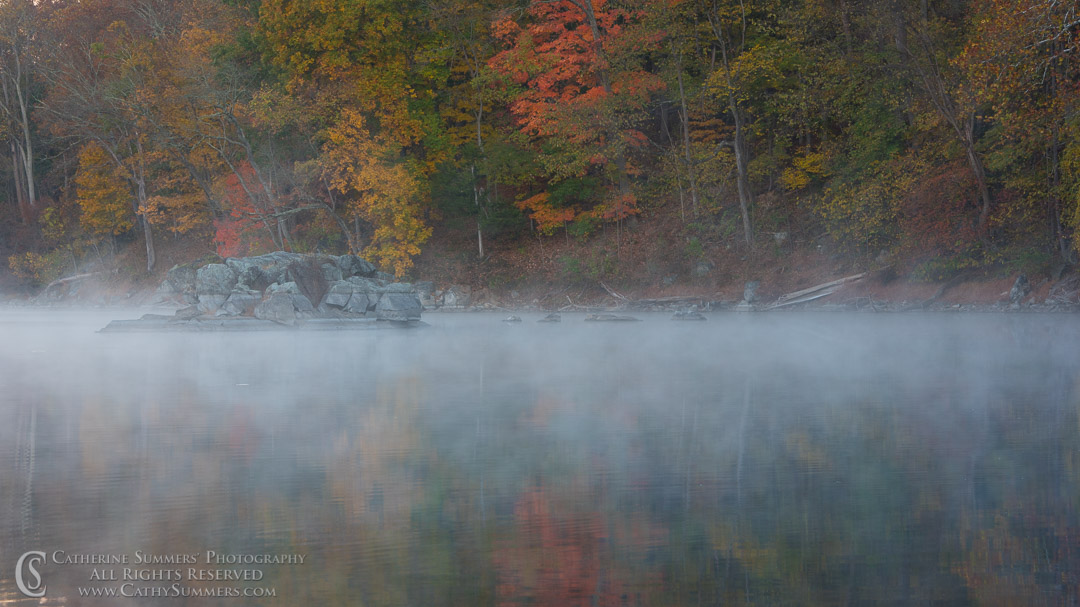 Autumn Colors and Reflections with Mist at Widewater: C&O Canal National Historic Park, Maryland