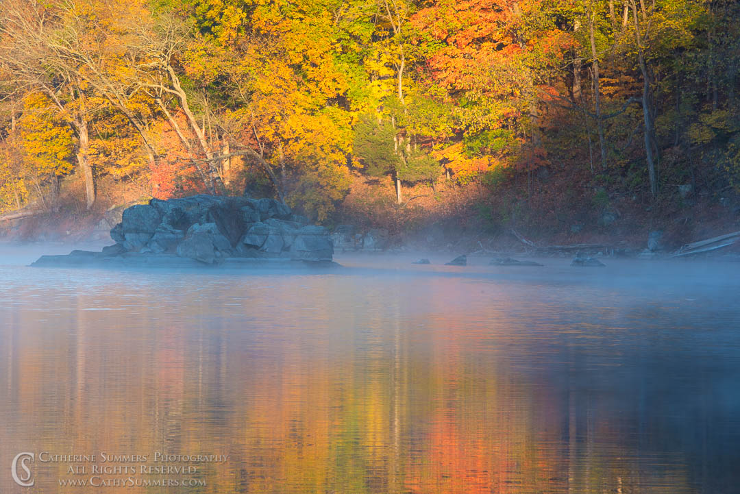 Autumn Colors in Early Morning Light with Reflections and Mist at Widewater: C&O Canal National Historic Park, Maryland