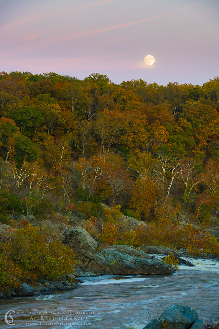Autumn Moon Rise over the Potomac: Great Falls National Park, Virginia