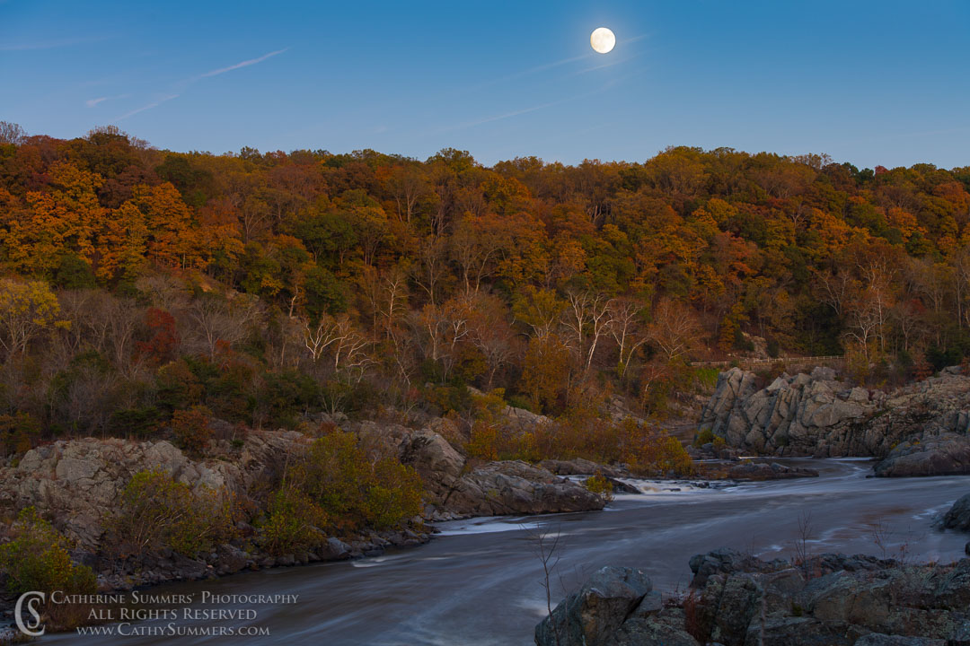 Autumn Full Moon Rises at Great Falls