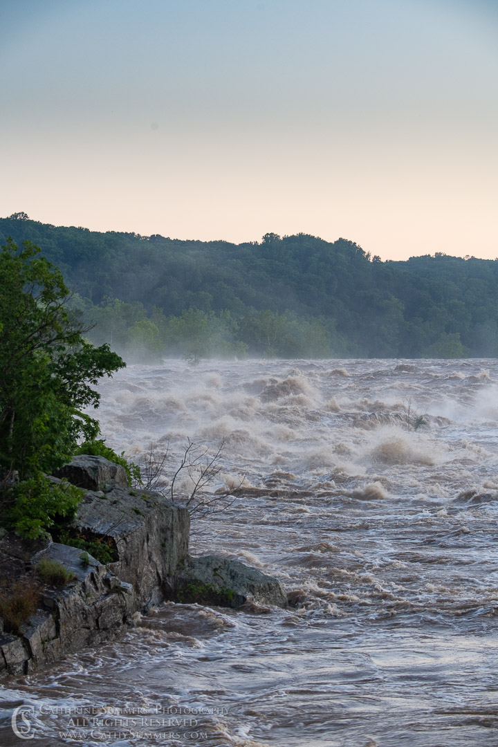 Dawn and a Flooded Potomac River at Great Falls: Great Falls National Park, Virginia