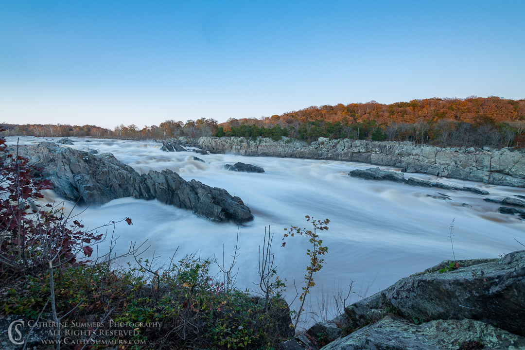 25 Second Exposure at Great Falls of the Potomac on an Autumn Afternoon After Sunset: Great Falls National Park, Virginia