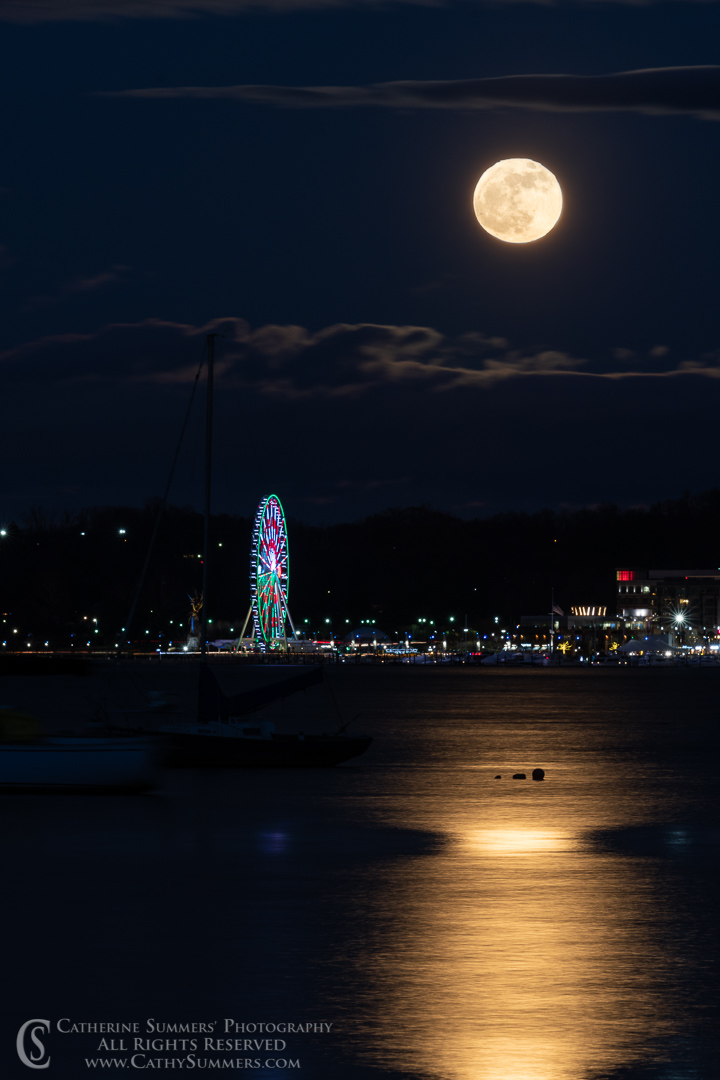 Full Moon Rising Over the National Harbor Ferris Wheel with Reflection in the Potomac River