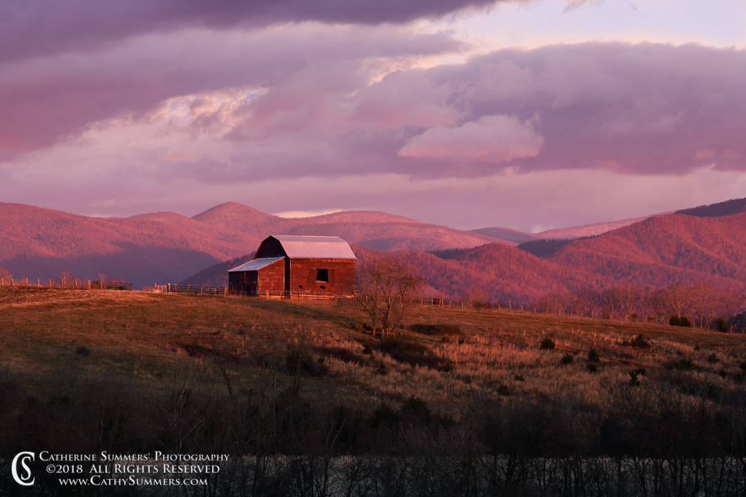 Barn at Dawn with a Dusting of Snow on the Blue Ridge Mountains