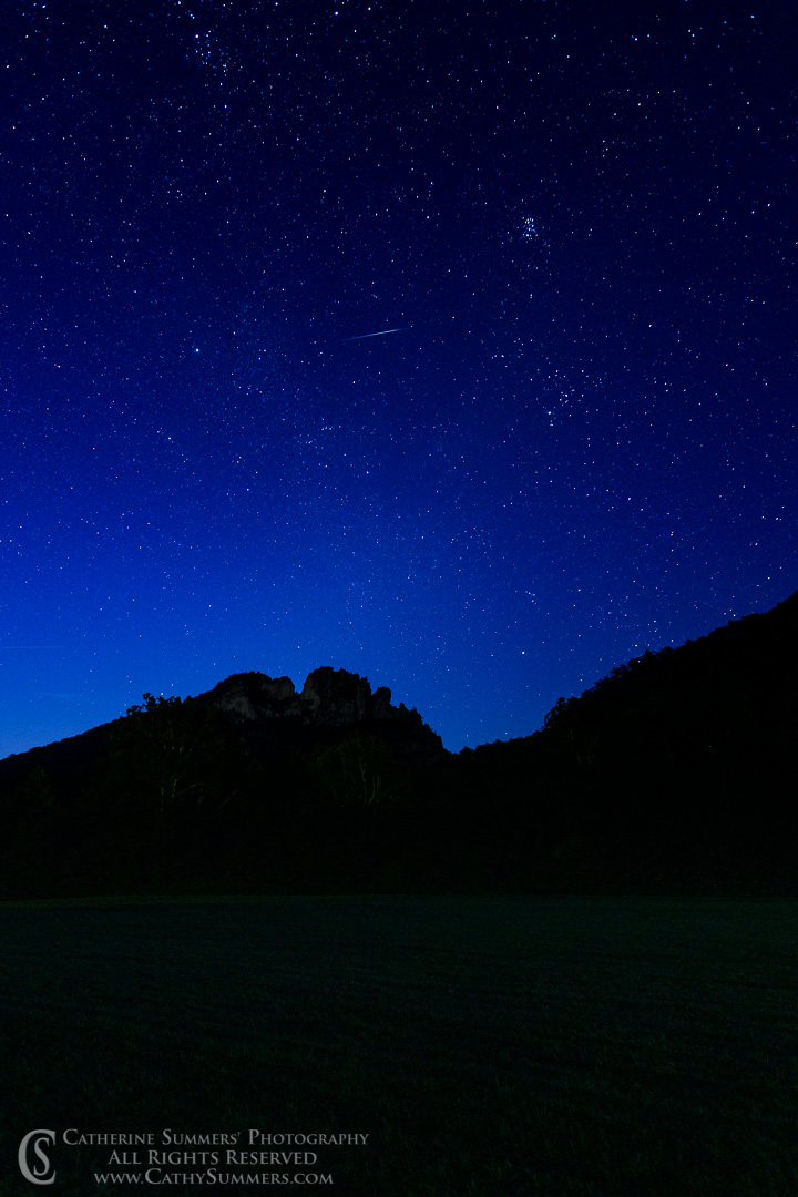 Two Perseid Meteorites Over Seneca Rocks Before Dawn