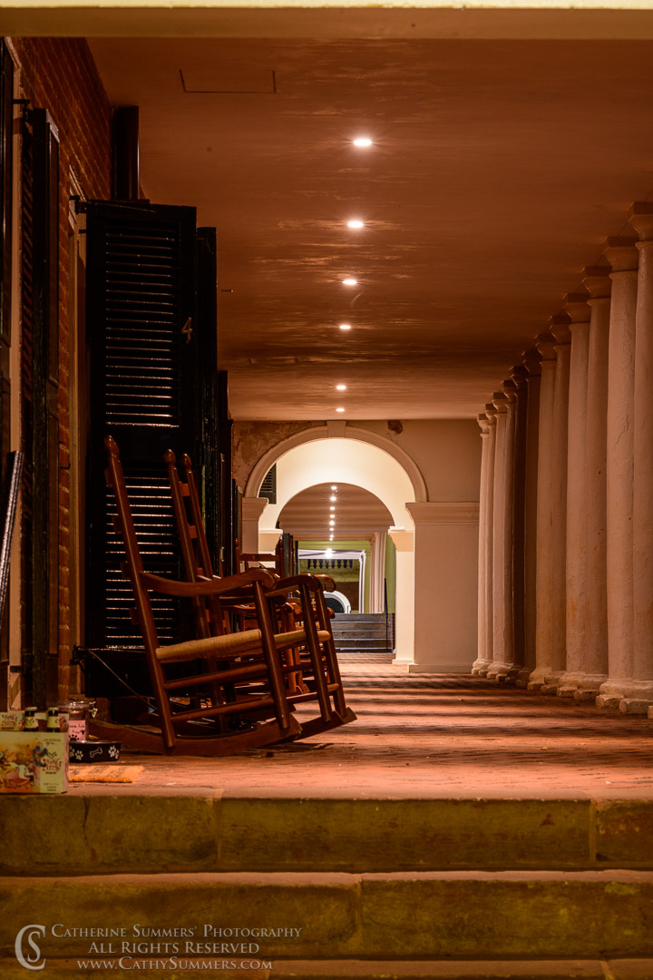 20190902_014: vertical, night, The Lawn, University of Virginia, UVA, rocking chair