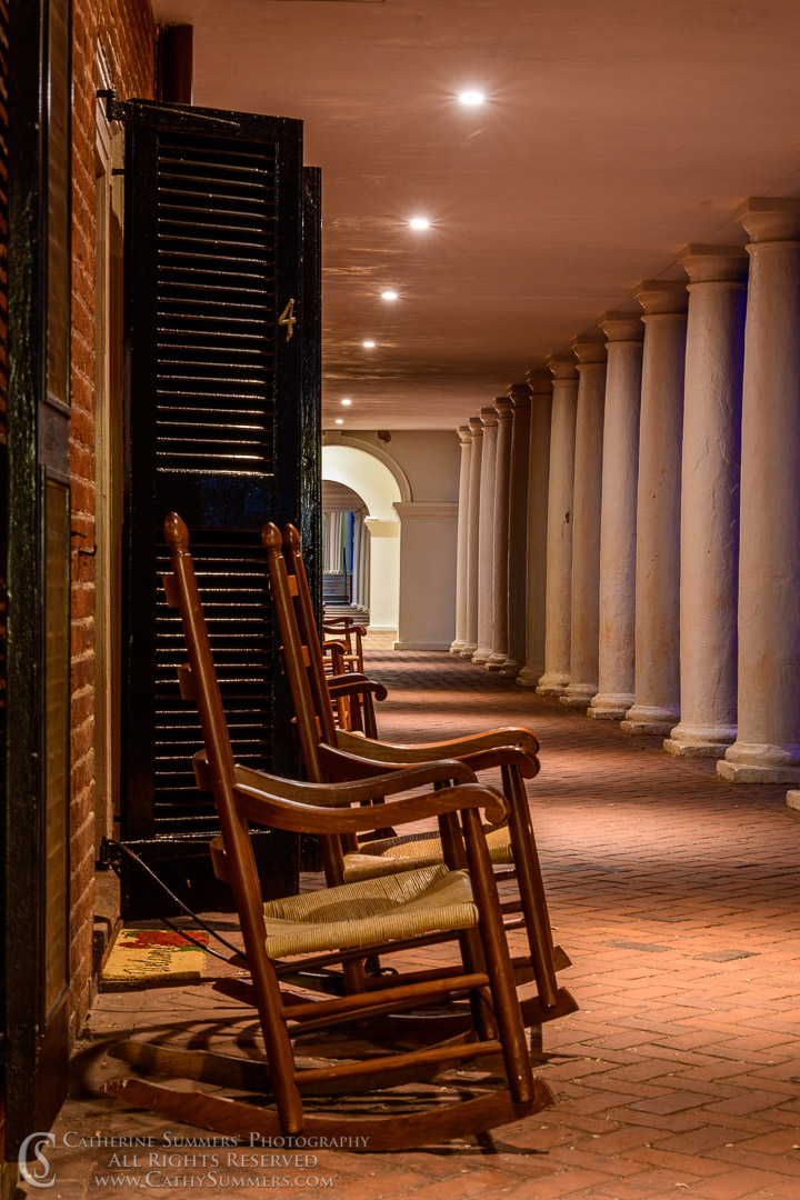 20190902_016: vertical, night, The Lawn, University of Virginia, UVA, rocking chair