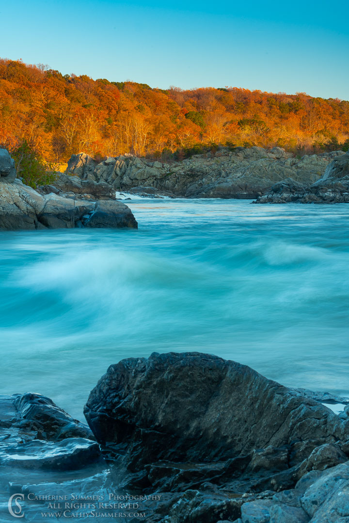 Long Exposure Motion Blur on the Potomac River at Great Falls on an Autumn Afternoon