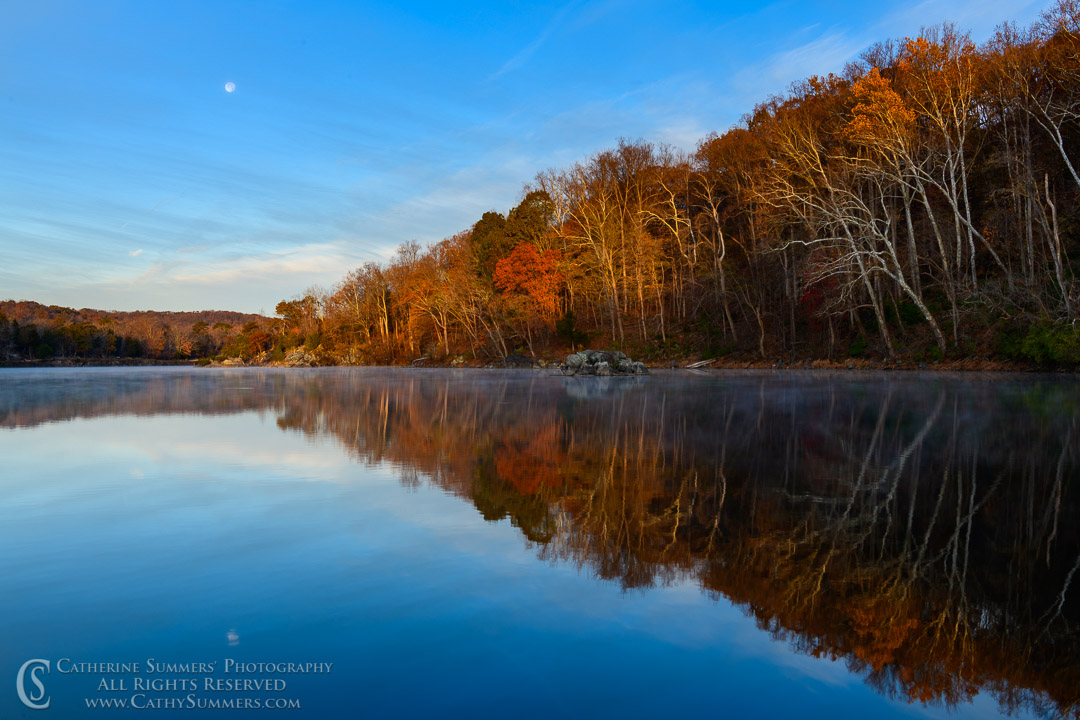 20191114_048: reflection, horizontal, moon, C&O Canal, Widewater