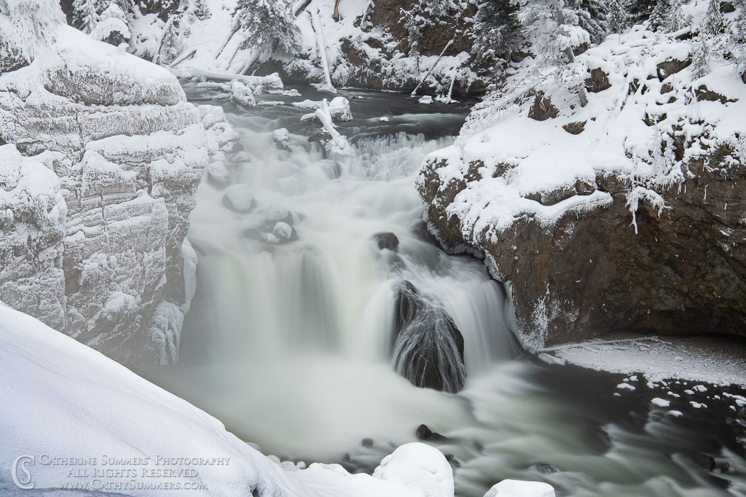 Lower Falls of the Firehole River on a Winter Afternoon