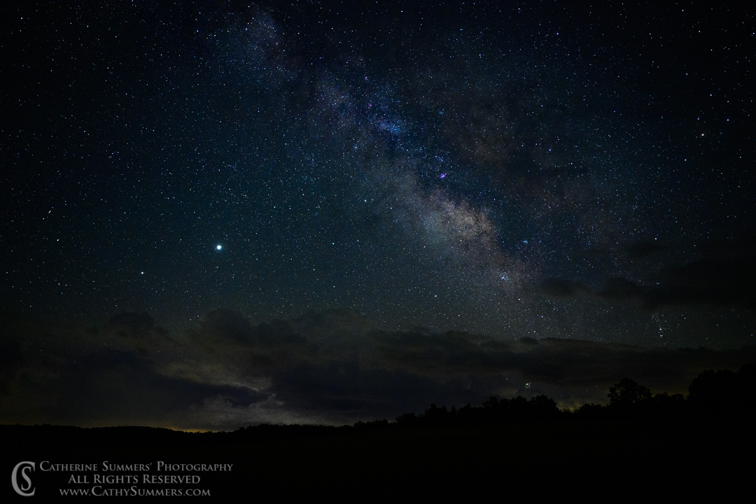Jupiter and Saturn with the Milkw Way Over Big Meadows on a Summer Night in Shenandoah National Park