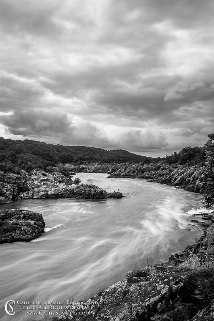 20200903_014_BW: vertical, clouds, Great Falls National Park, Great Falls, storm, waterfall, black and white, long exposure, Potomac River