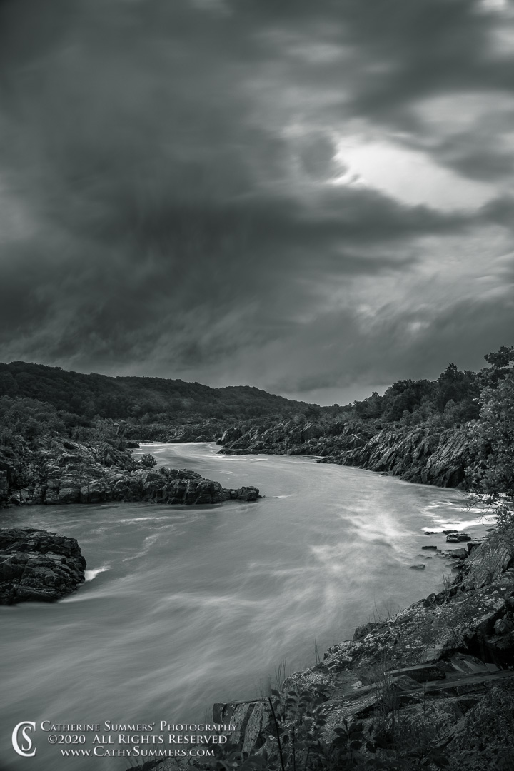20200903_067_BW: vertical, clouds, dusk, Great Falls National Park, Great Falls, storm, waterfall, black and white, long exposure, Potomac River