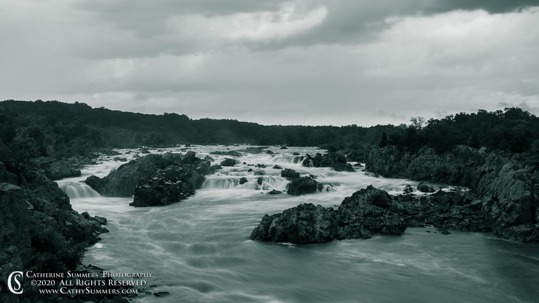 20200903_078_BW: clouds, dusk, horizontal, Great Falls National Park, Great Falls, storm, waterfall, black and white, long exposure, Potomac River, 16x9