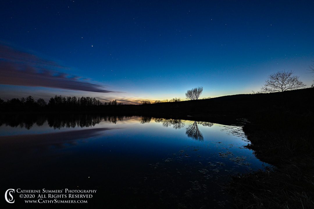 Stars Coming Out as Sunset Fades at Sky Meadows State Park's Turner Pond