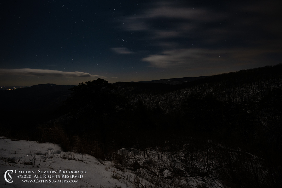 A Moonlit Winter Night at the Pinnacles Overlook on Skyline Drive