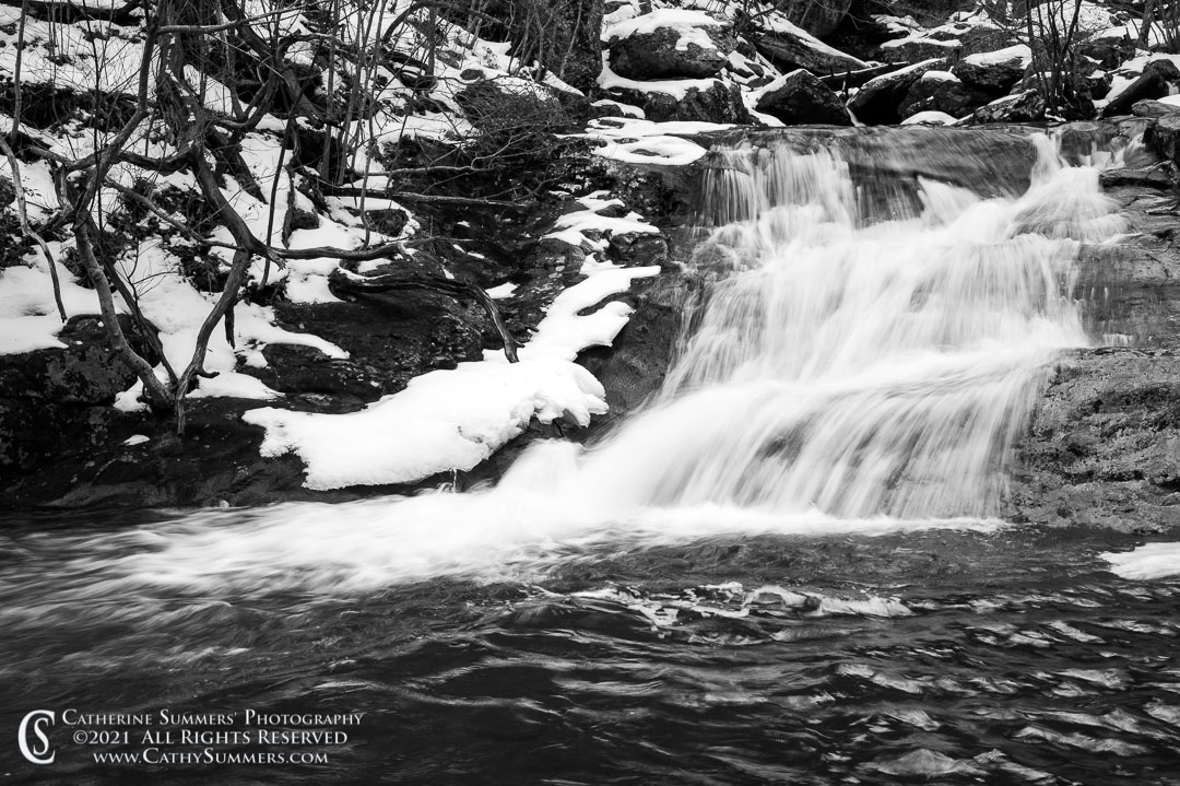 At the Bottom of a Waterfall in White Oak Canyon on a Winter Day - Black & White