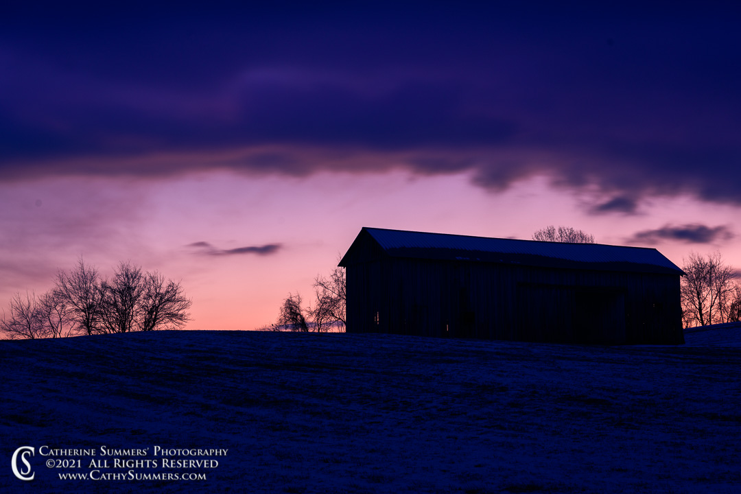 Barn and Winter Sunset in the Virginia Piedmont