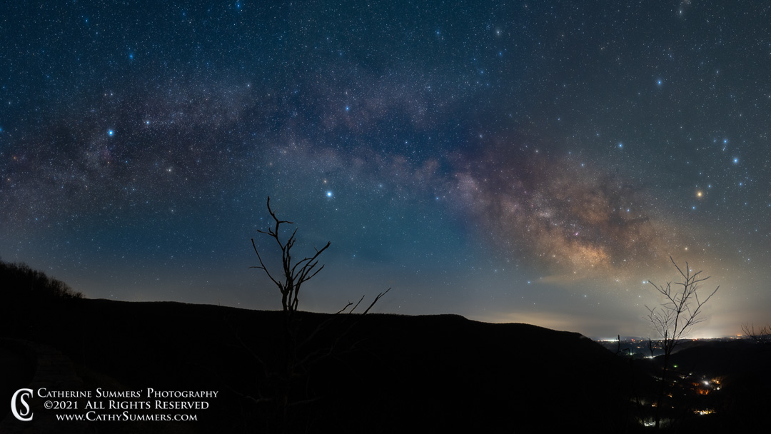Milky Way, stars, clouds, panorama, SHenandoah National Park, Bacon Hollow, Blue Ridge Mountains