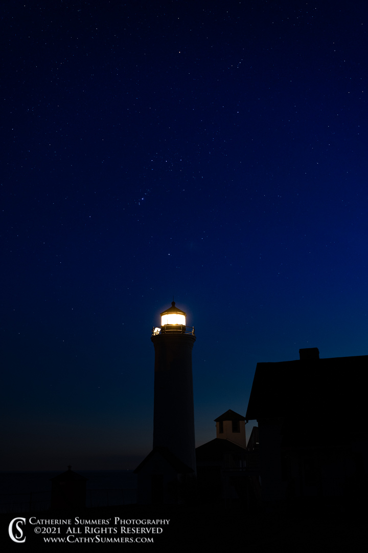 Orion Over the Tibbets Point Lighthouse as the last of the Sunset Fades Away