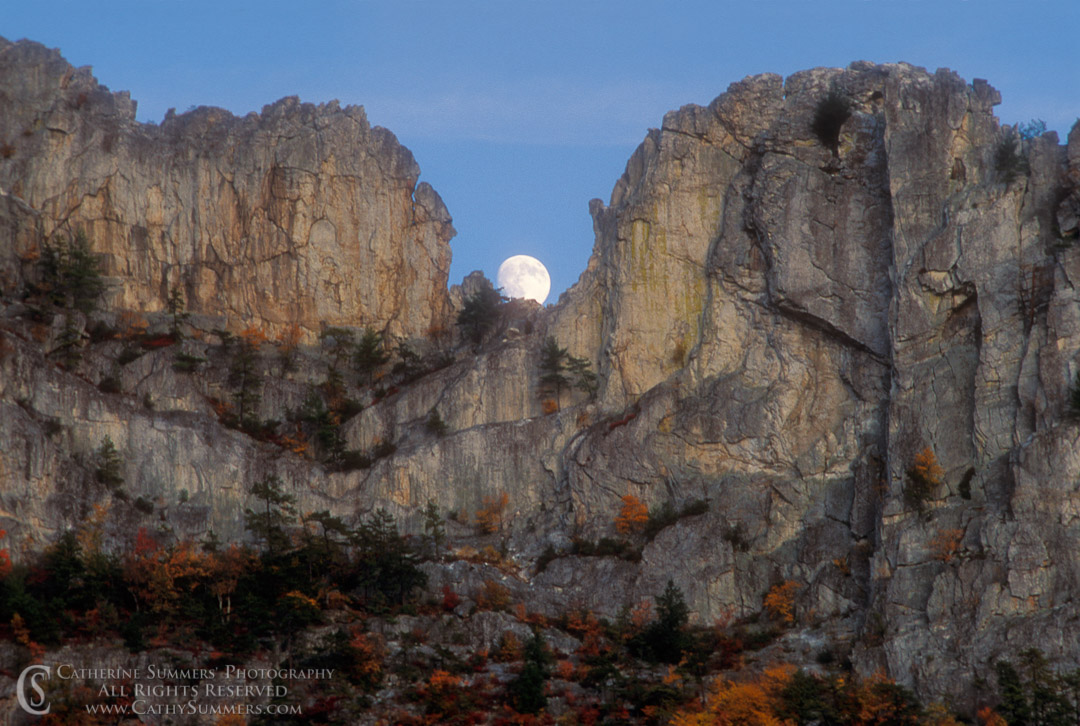 91_1370: Moonrise at Seneca Rocks