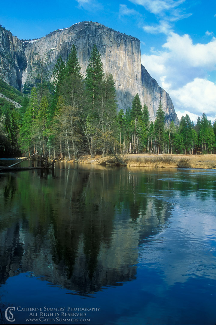 92_0107: El Capitan and Reflection on a Winter Day