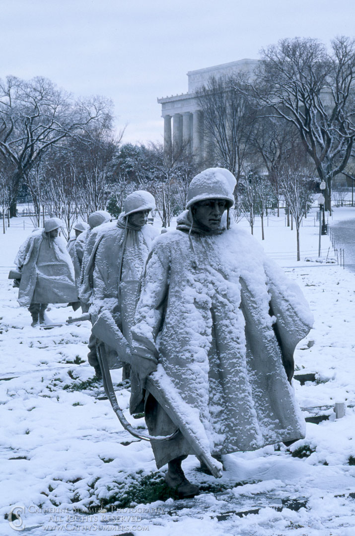 DC_1996_034: vertical, DC, Washington, Winter, snow, Korean War Memorial, statue