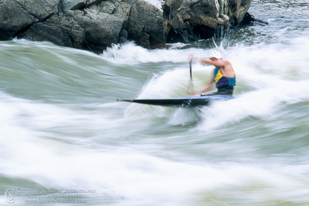 Title: Surfing the O'deck Wave, #3; Keywords: C-1, canoe, Great Falls, Great Falls National Park, horizontal, kayaking, O'deck, surfing, whitewater