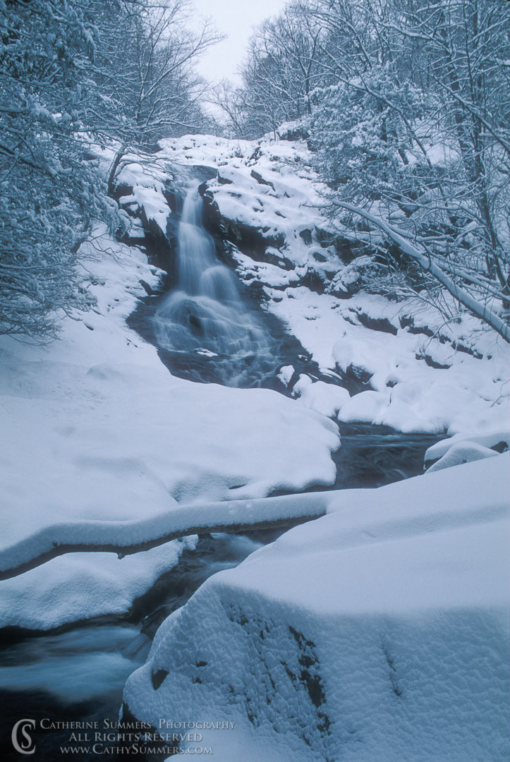 Title: White Oak Falls in Snow Storm; Keywords: shenandoah, snow, vertical, waterfall, whiteoak canyon, Winter
